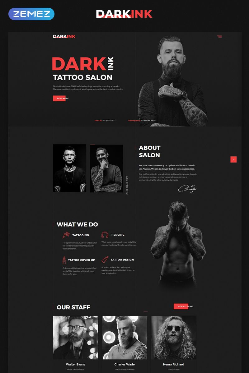 Dark Ink Tattoo Saloon Website Template Themes Business Responsive Websitethemes Web Design Tips Website Design Layout Web Layout Design