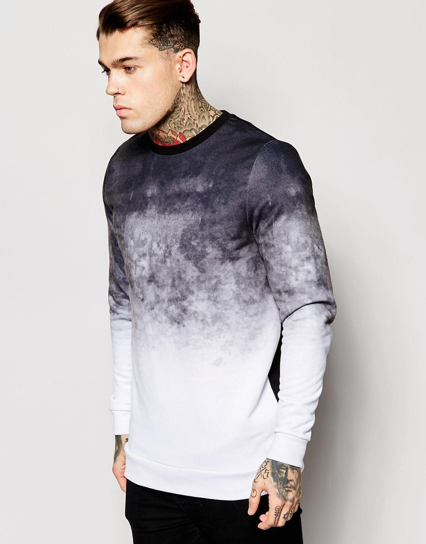 ASOS Oversized Scuba Sweatshirt With Marble Print at asos