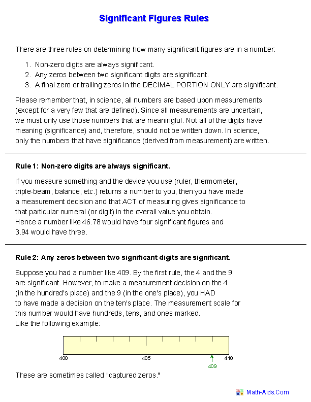 Significant Figures Handout Worksheets | maths and science | Science ...