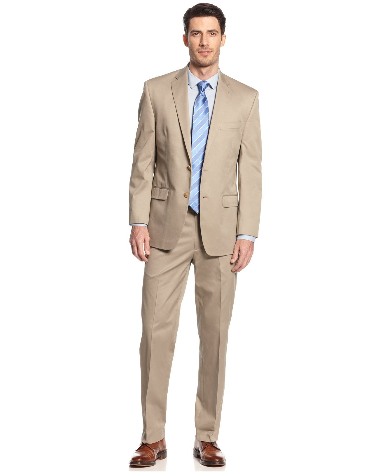 Lauren By Ralph Lauren Tan Solid Cotton Suit Separates