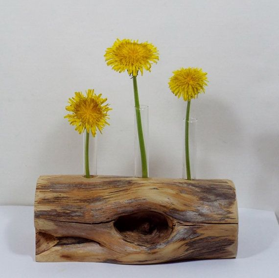 Rustic flower vase found wood test tube bud gift
