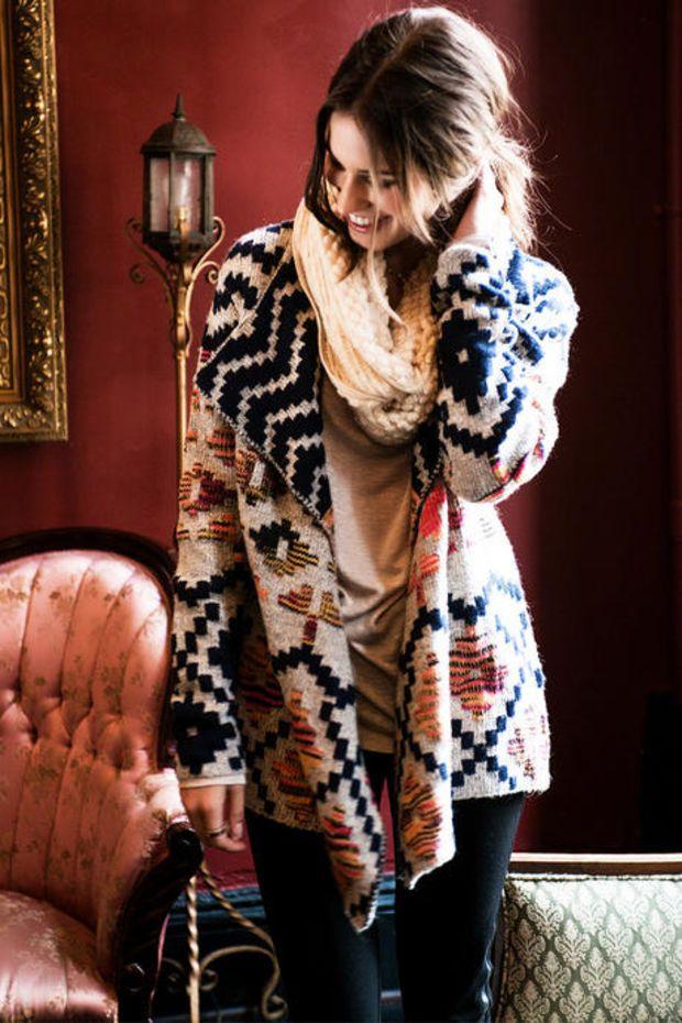 Letty Geometric Sweater Wrap