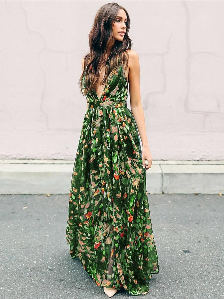 3d3230b079 Bohemia Floral V Neck Backless Maxi Dress - like the cut, not the floral-  bridesmaids