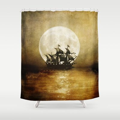 Pirate Ship Shower Curtain Vintage Trip Shower Curtain