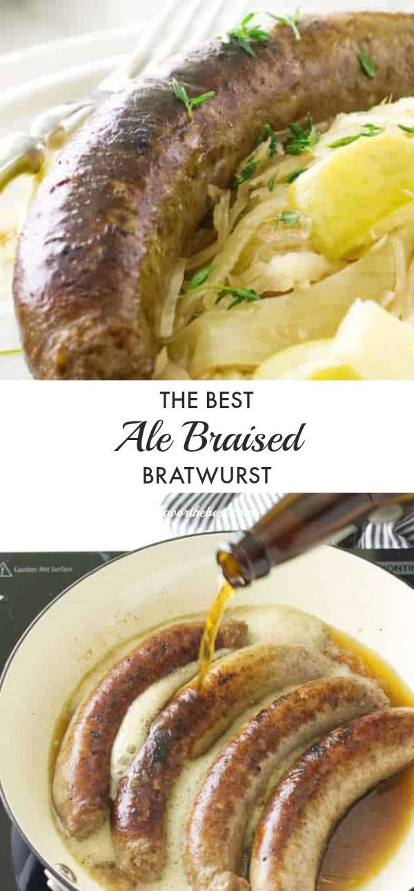 Ale Braised Bratwurst and Apple Sauerkraut #octoberfestfood