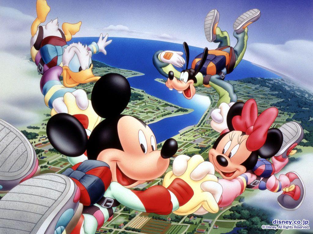 Mickey Paracaidas Divertido Wallpaper Para Pc ディズニー