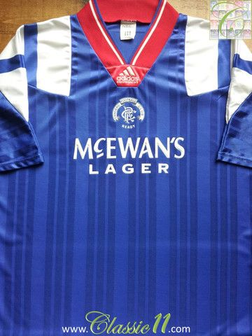 Vintage Adidas Glasgow Rangers replica home football shirt from the  1992 1993 season. Condition of this vintage shirt is 9 10 – Superb. c1dc02db1d1