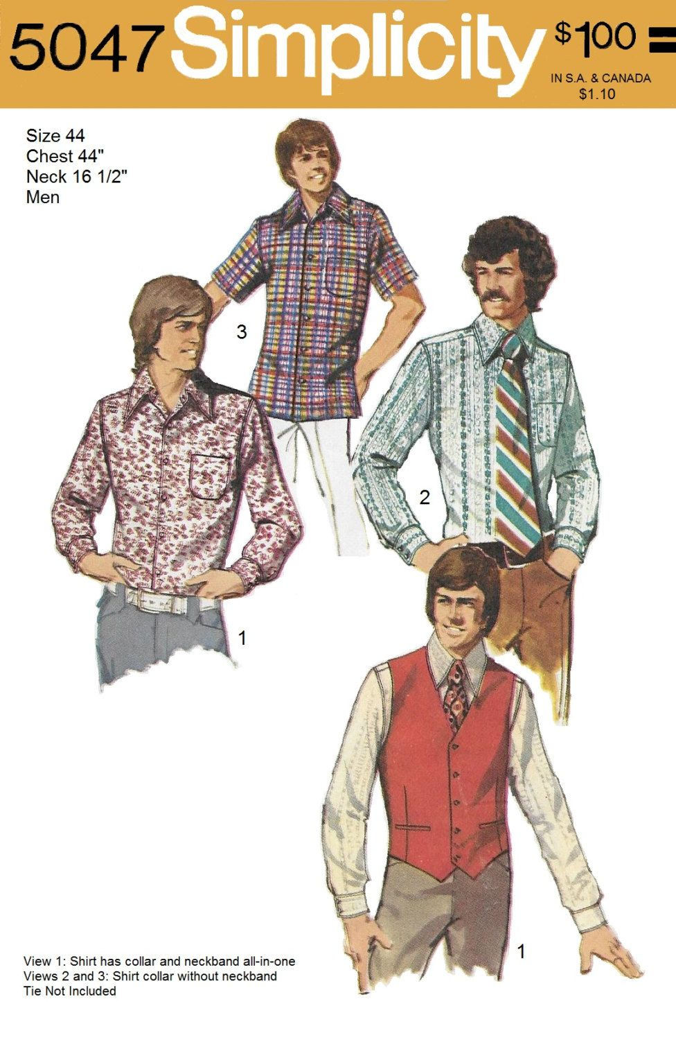 Simplicity 5047 Men\'s 70s Vest & Set of Shirts Sewing Pattern Chest ...