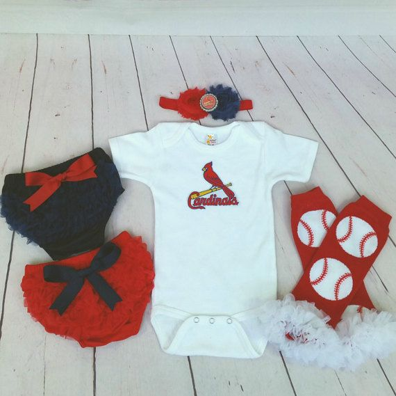 f528a29486502 St Louis Cardinals baby girl outfit STL by cupcakenstudmuffins
