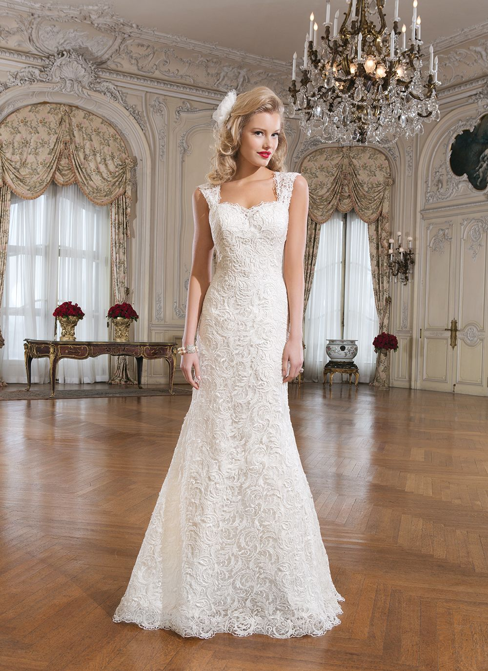 Lace fit and flare wedding dress with sleeves  Justin Alexander wedding dresses style  Venice lace fit and