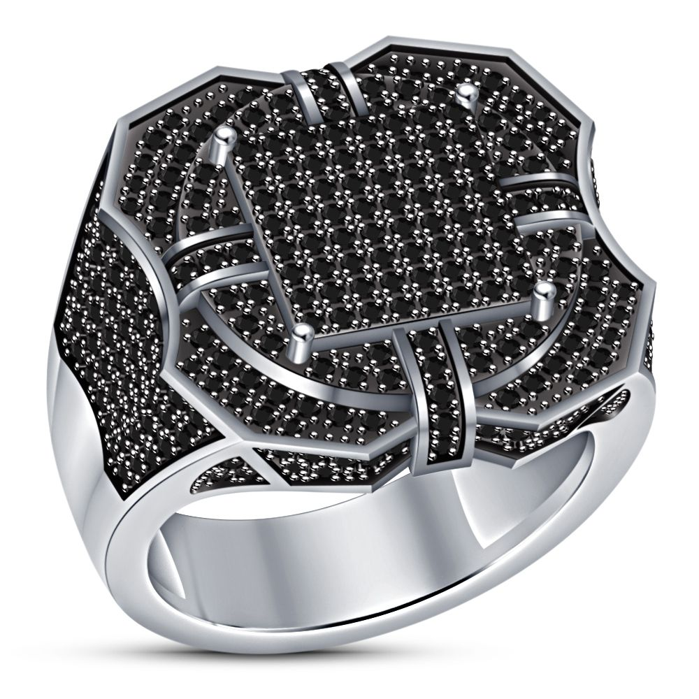 10k White Gold Over 1 75ct Mens Black Diamond Engagement Wedding Pinky Band Ring Wedding Ring Bands Ring Jewellery Design Mens Gold Rings