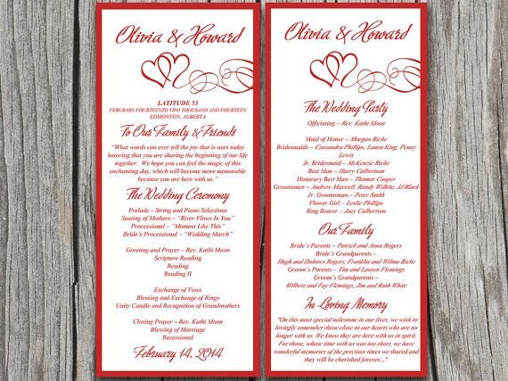 Double Heart Wedding Program Microsoft Word Template Red Flourish Ceremony Swirls