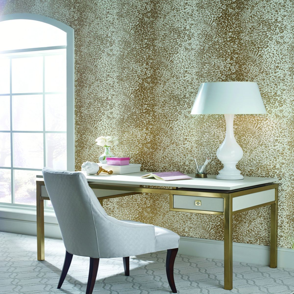Dream On Bountiful Wallpaper In Yellow Gold Gray Interior Doors Home Decor Wall Coverings