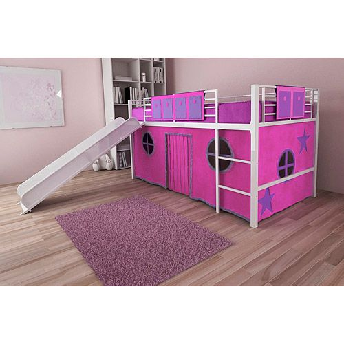 Girl twin loft bed with slide hailee would love this if for Twin bed girl furniture
