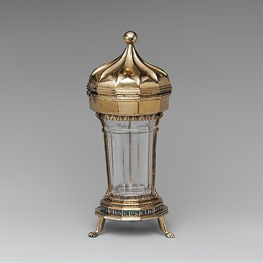 Covered Beaker Date: vessel 1325–50, mounts 1340–60 Geography: Made in Venice, Italy (vessel); Vienna, Austria (mounts) Culture: Italian (vessel), Austrian (mounts) Medium: Silver gilt, rock crystal, and translucent enamels Dimensions: Overall: 8 1/4 x 3 3/8 in. (21 x 8.6 cm)