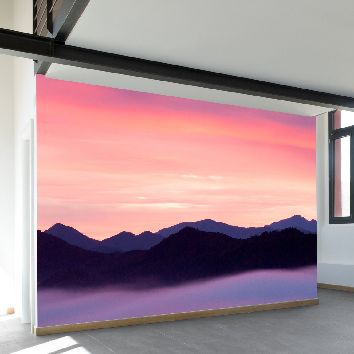 Rocky Mountain Sunset Wall Mural Wallsneedlove Mountain Sunset Painting Canvas Painting Diy Mountain Paintings
