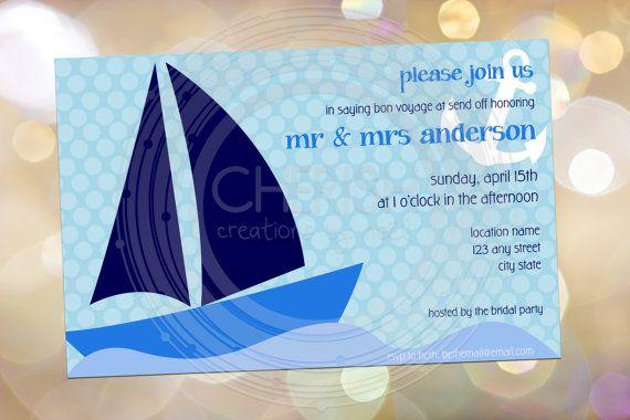 Set Sail - 50 Birthday Bon Voyage Wedding Brunch Cruise Boat Party Shower   Custom Invitation $28.00