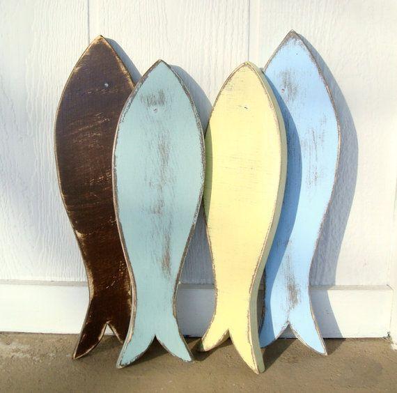 2 wood fish nautical wood wall art by folkybirdsandfish on Etsy ...