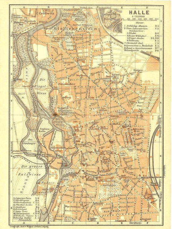 Halle Saale Karte.Halle Saale City Map Saxony Gemany Baedeker 1925 Halle