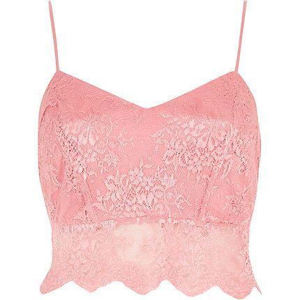 Pink lace crop bralet £12.00