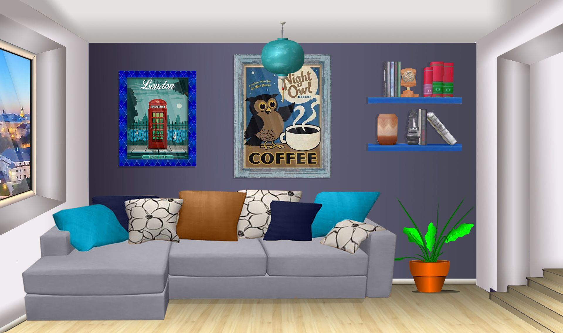 Int Apartment Blue Living Room Day Living Room Background Blue Living Room Apartment Living Room Living room background video