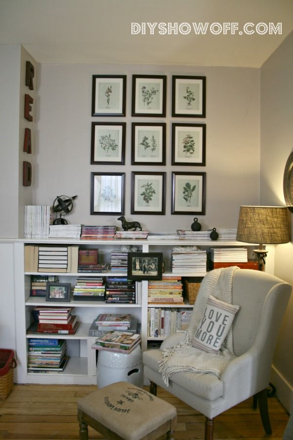 HEARTH ROOM Corner Made Reading Nook Vintage Botanical Print Collage Letters That Spell Read Framed Photo Mounted Onto Bookshelf Books In Varying