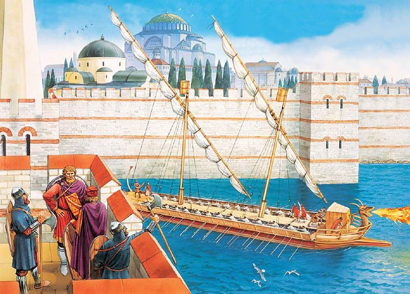The sea walls of Constantinople and a Byzantine ship armed with a Greek fire projector c. AD 1000