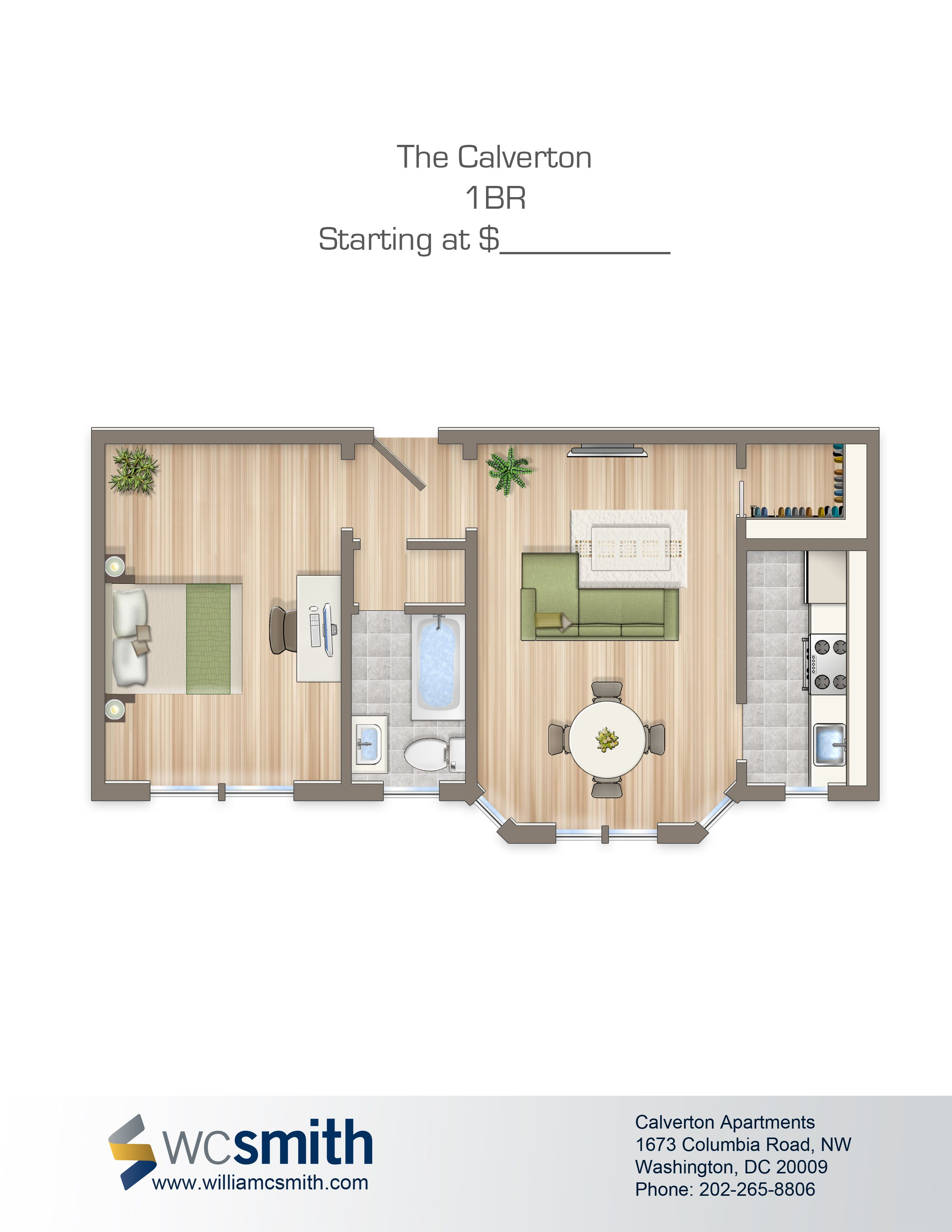 One bedroom floorplan available for rent the calverton - 1 bedroom apartments washington dc ...