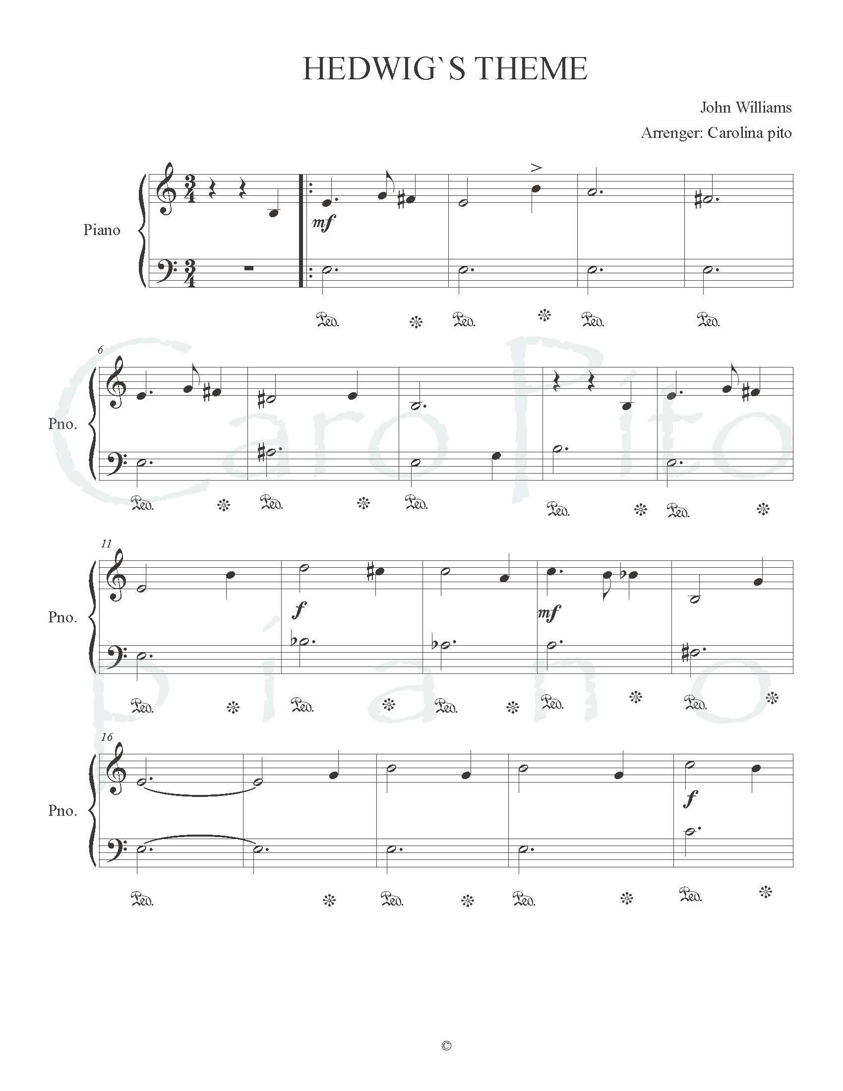 Hedwig S Theme Free Sheet Music By Caropito Piano With Images