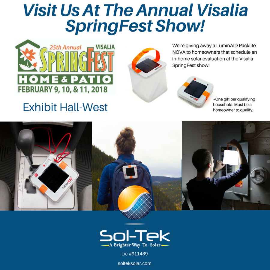 We Are Excited To Share That Sol Tek Will Be At The Upcoming Visalia Home Patio Springfest February 9 11t Solar Panels For Home Solar Landscaping Around Deck