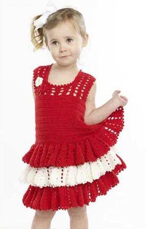 Ganchillo vestido del volante del patrón libre - Crochet Patrones de ...
