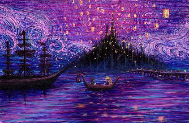 The Lantern Scene By Kimberly Castello Tangled Lanterns Scene Tangled Painting Disney Art