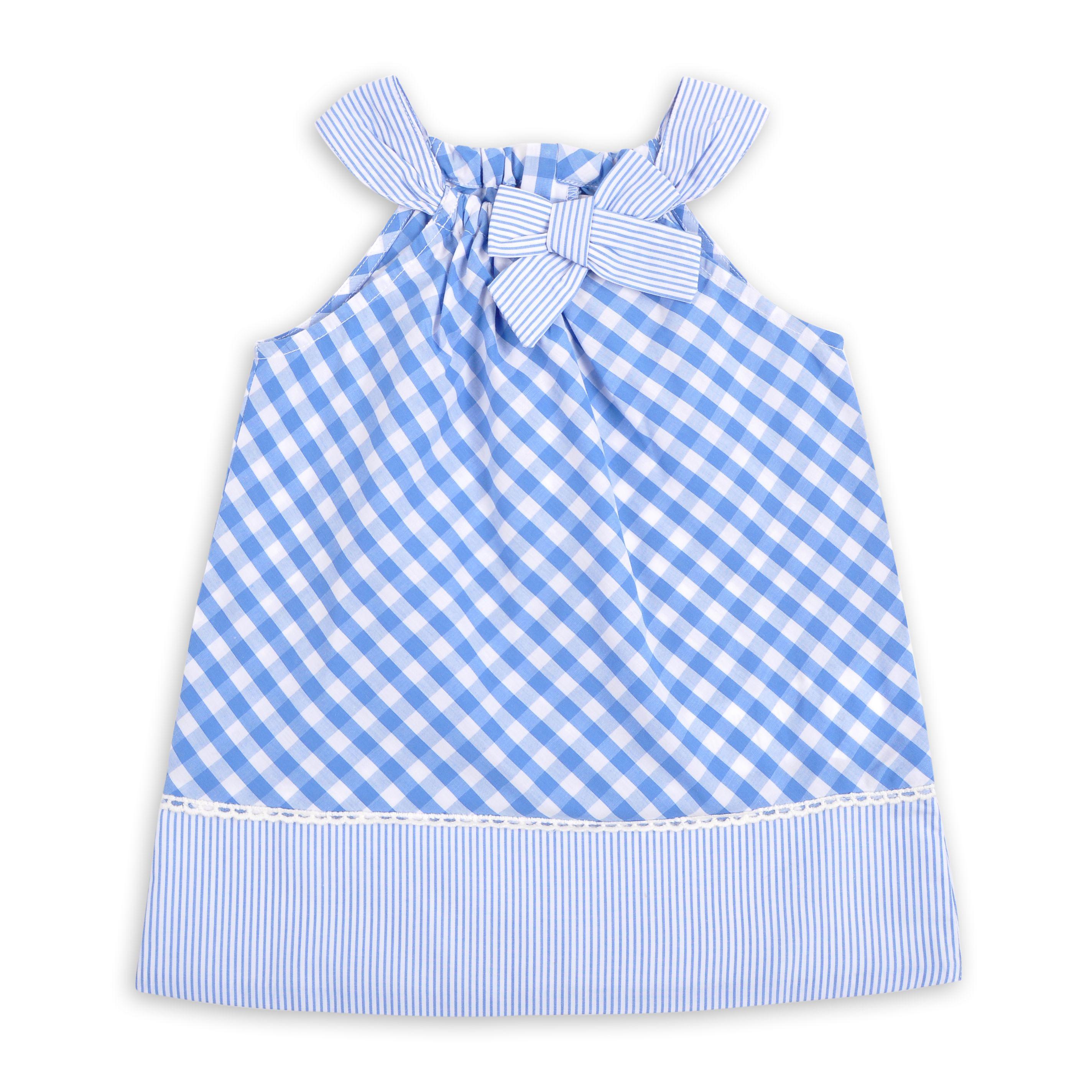 Vestido EPK para bebé ni±a con estampado de vichy cuadros azul