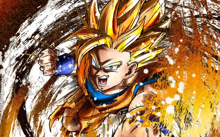Download wallpapers 4k, Goku, grunge, Dragon Ball FighterZ