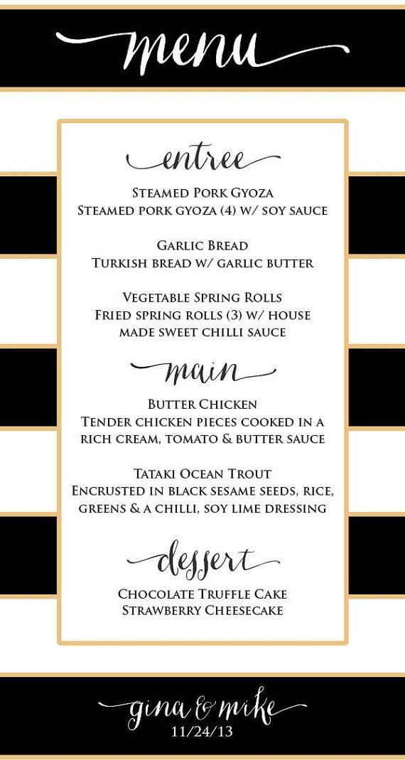 Printable menu cards - Custom menu - calligraphy Menu - calligraphy