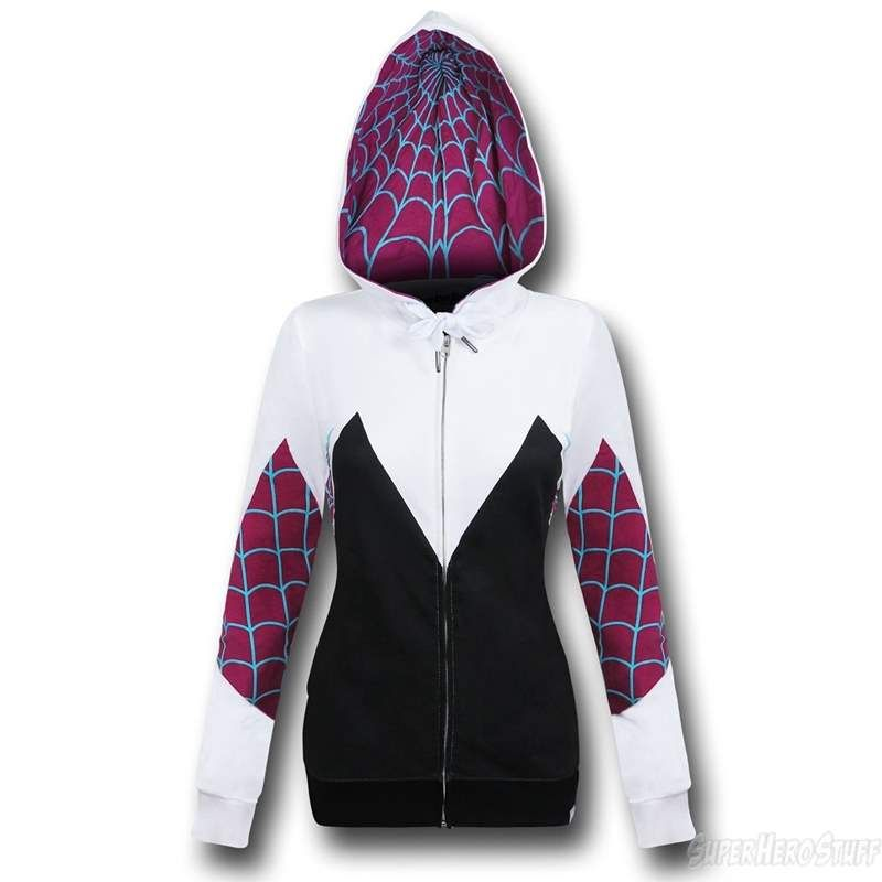 89341eba7 Spider Gwen Costume Zip-Up Hoodie | Spider Gwen Merchandise | Spider ...