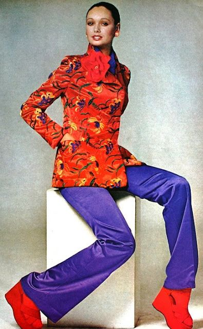 Purple Satin Pants 1972 Loving The Colour Clash 1970s Fashion