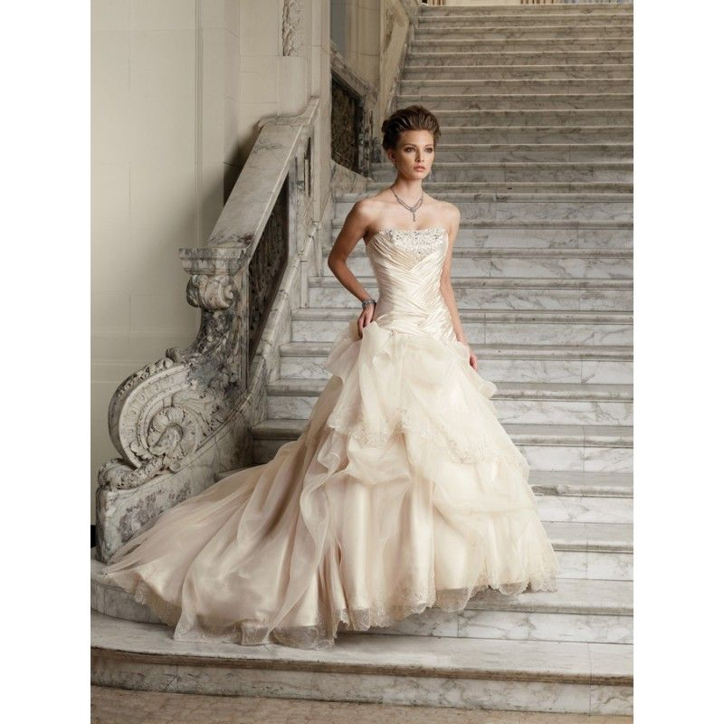 Colored Champagne Yellow Pink Wedding Dresses Strapless Gold Ivory ...