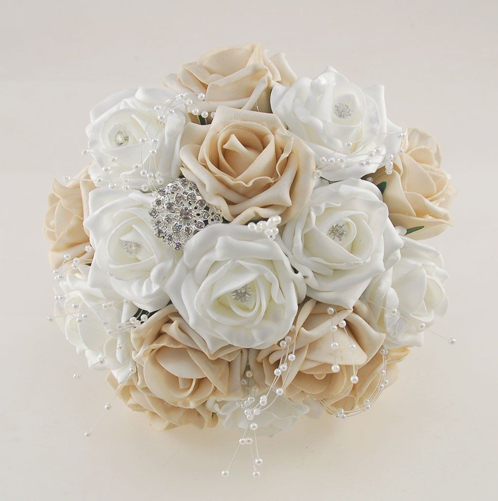 WEDDING FLOWERS IVORY FOAM ROSE BUTTONHOLE PACKAGE x 6 WITH PEARLS DIAMANTE