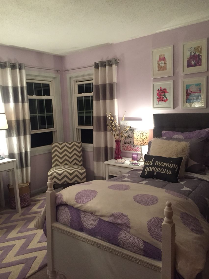 Lavender and grey teen bedroom for the home pinterest Purple and gold bedrooms
