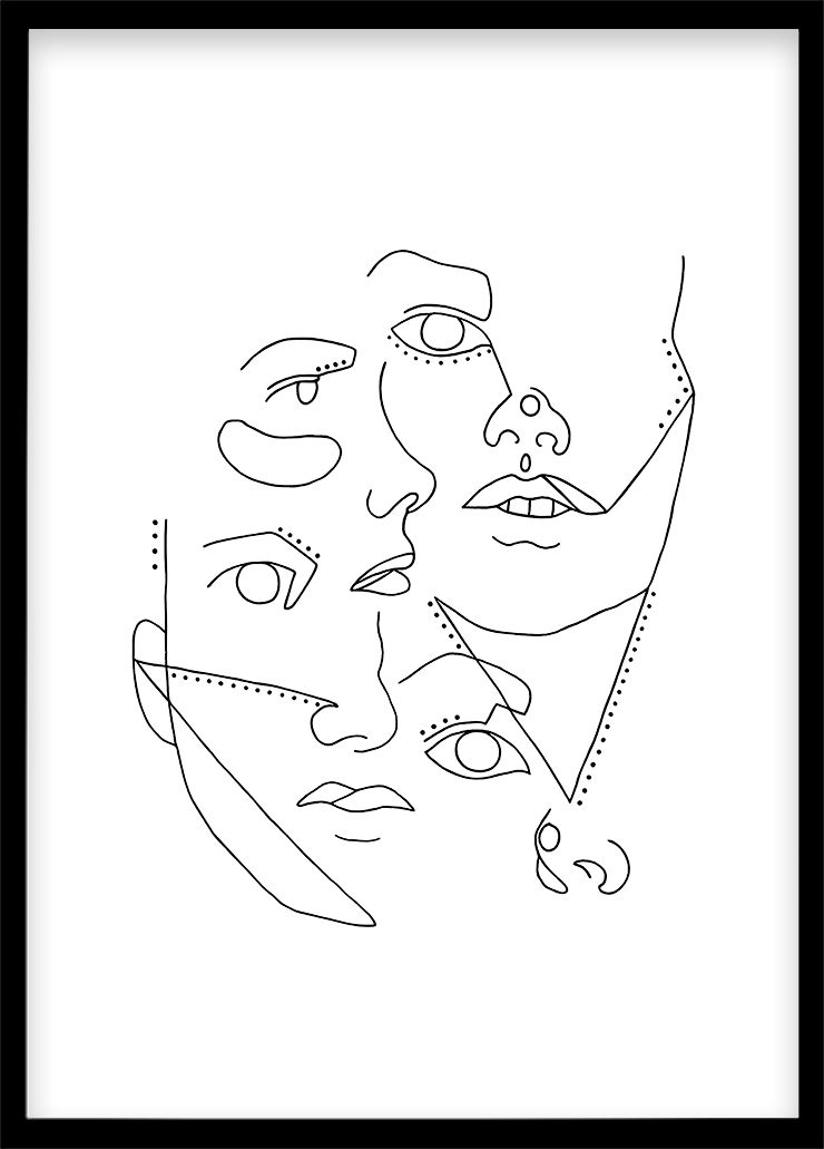 Minimal Print, Printable Wall Art, Poster Abstract Faces, Black and White Decoration, Living Room Print, Handmade Art, One Line Drawing