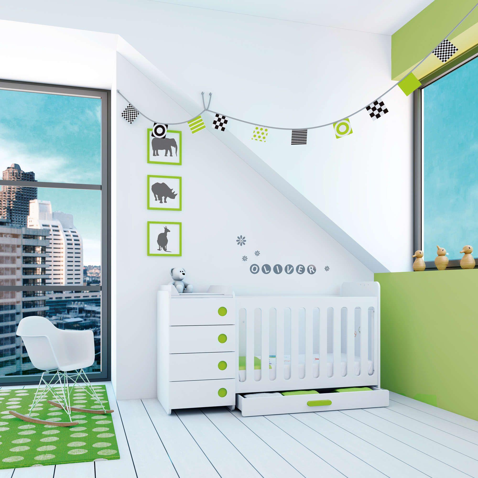 Cunas convertibles de dise o y modernas de color verde - Diseno de habitaciones pequenas ...