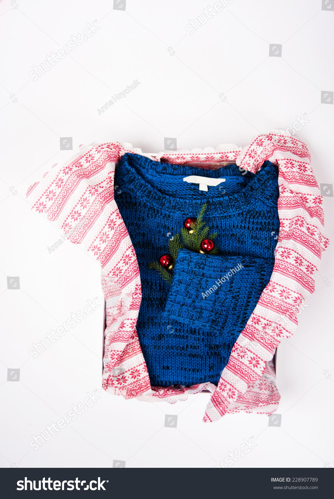 Royal Blue Sweater with Christmas Ornaments on White