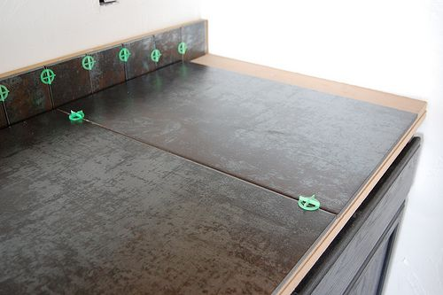 Tile Countertops | Then The Counter Tile Went On, One Extra Large Tile At A  Time.
