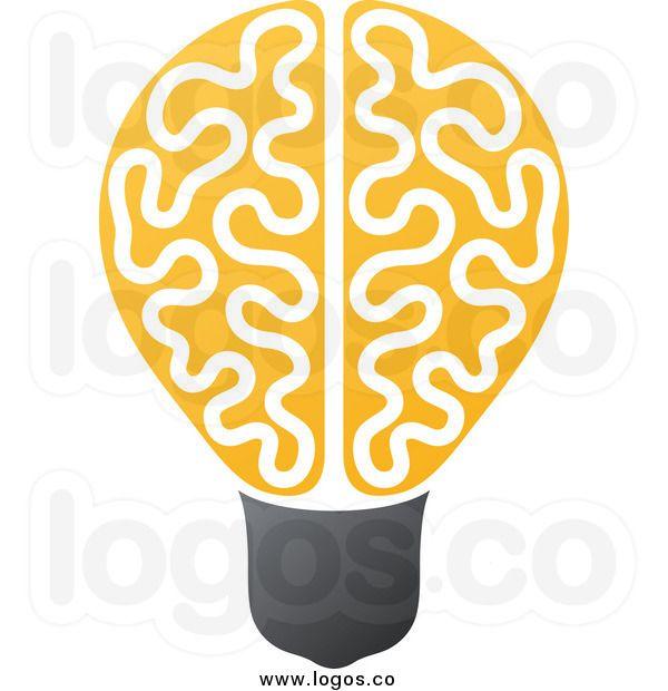 Royalty Free Clip Art Vector Logo Of A Yellow Brain Light Bulb Logo Design Inspiration Creative Free Clip Art Graphic Design Flyer