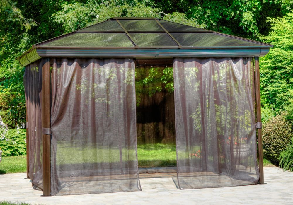 10 Ft X 10 Ft All Season Gazebo Outdoor Curtains For Patio Gazebo Pergola Aluminum Gazebo