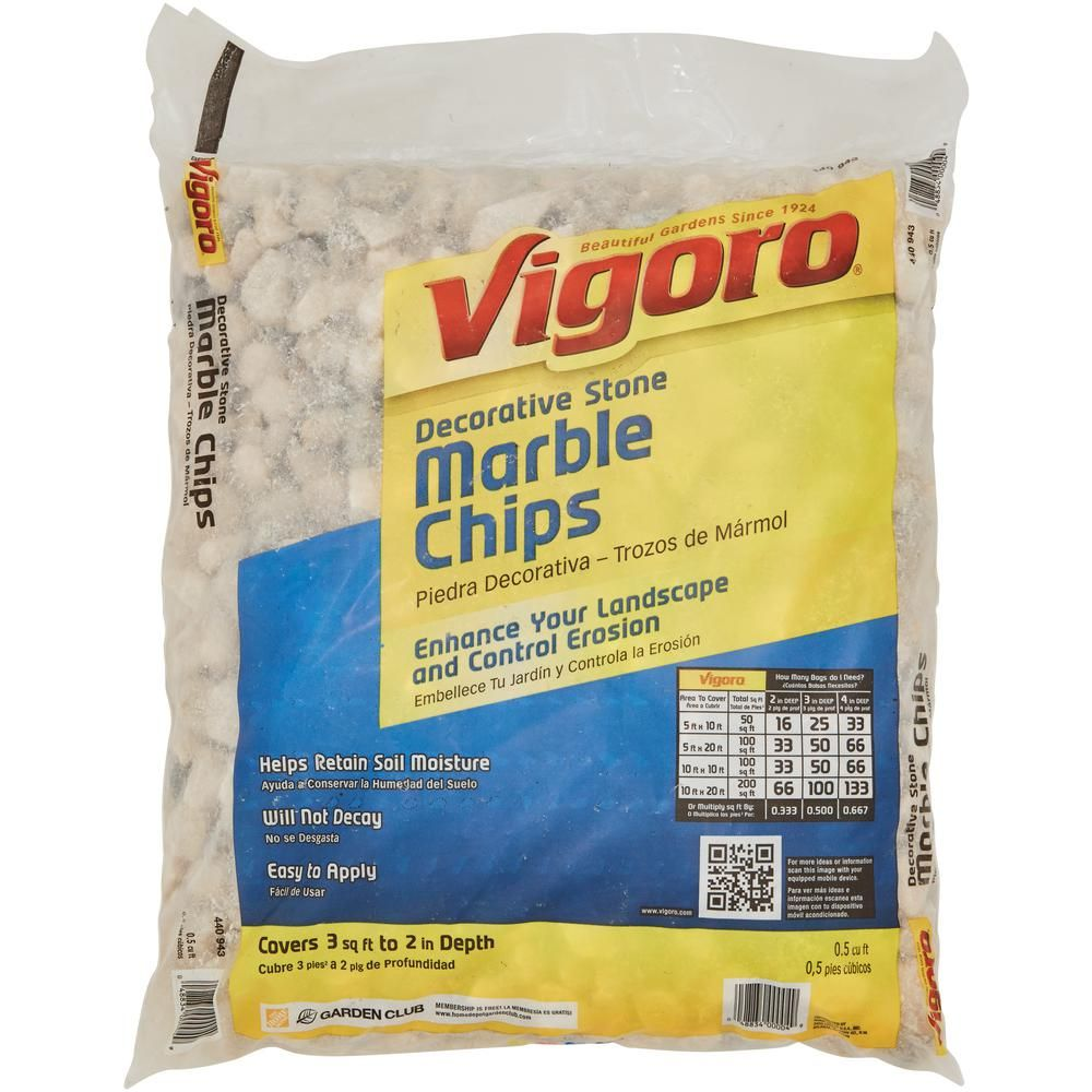 Vigoro 0 5 Cu Ft Bagged Marble Chips 54141 The Home Depot In 2020 Backyard Landscaping Designs Chips Landscaping With Rocks