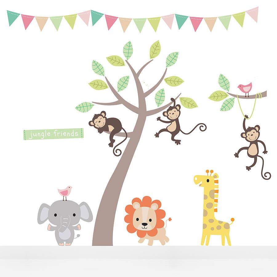 Pastel Jungle Animal Wall Stickers Patterns For Grips Pinterest
