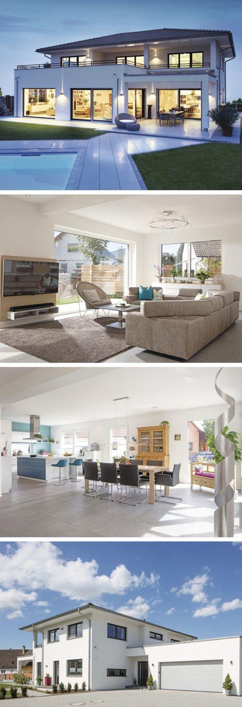 modernes design haus mit pool und garage weberhaus stadtvilla als fertighaus hausbaudirekt. Black Bedroom Furniture Sets. Home Design Ideas