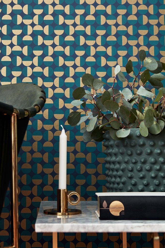 Vertigo Teal Geometric Wallpaper Scandinavian wallpaper